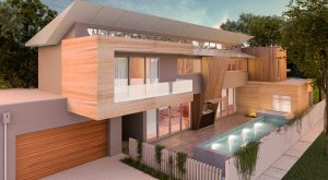 Farifield House Design 2 Story Pool Wood Dusk