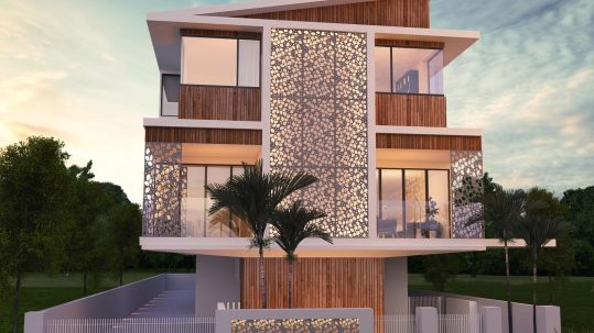 Scarborough House Design Modern 2 Story House Perforated Steel Screen