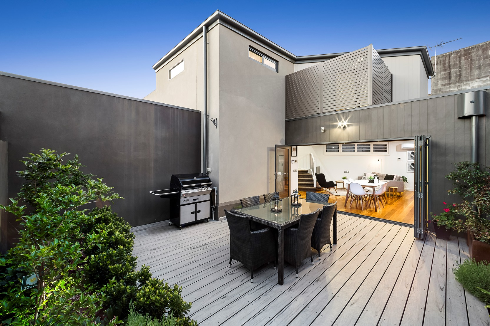 Kew House Design Outdoor Dining Patio Wooden Boards