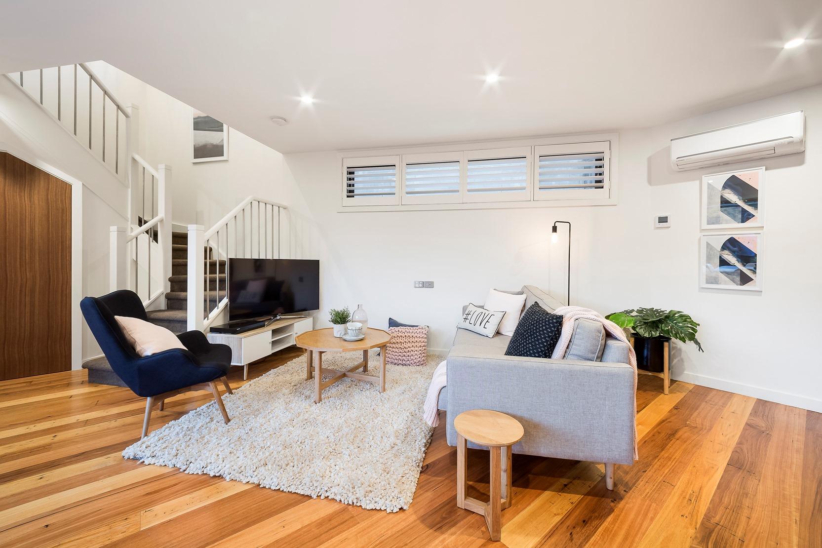 Kew House Design Lounge TV Room Wooden Floor Stairs