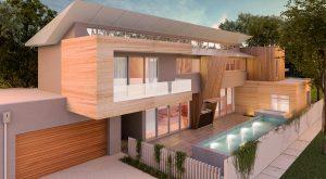 Farifield House Design 2 Story Pool Wood Dusk